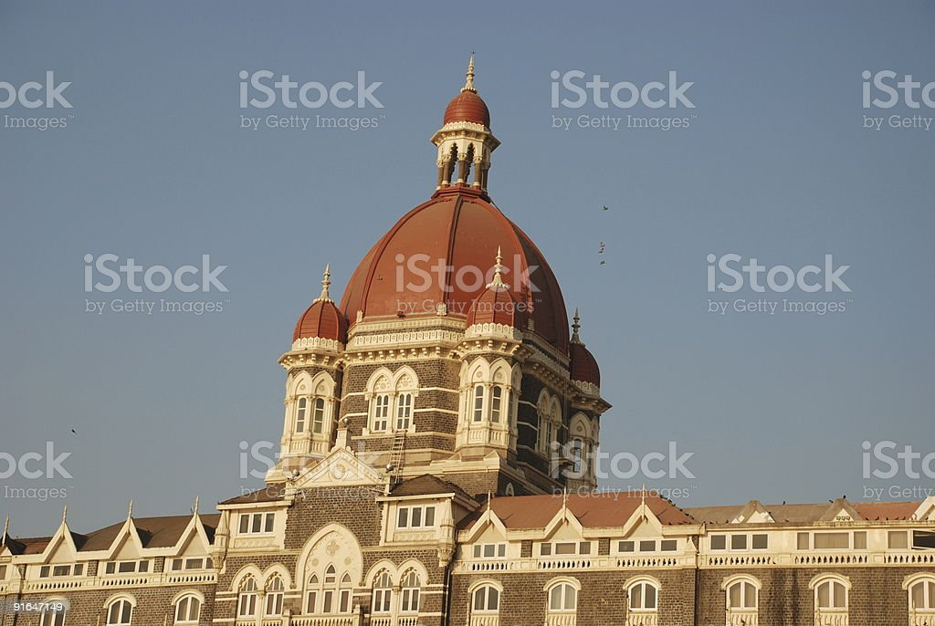 Minarets (central) of the Taj Hotel, Mumbai royalty-free stock photo