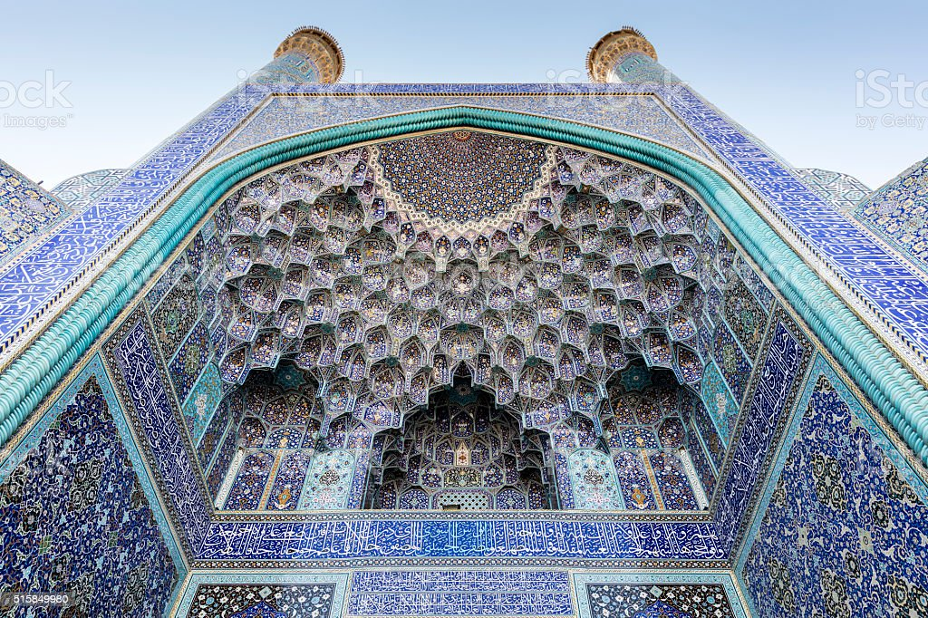 Minarets, pishtek, and pendentive decorated arch, Emam Mosque, Isfahan, Iran stock photo