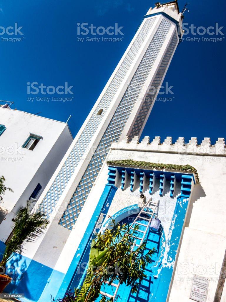 Minarett in Medina of Larache stock photo