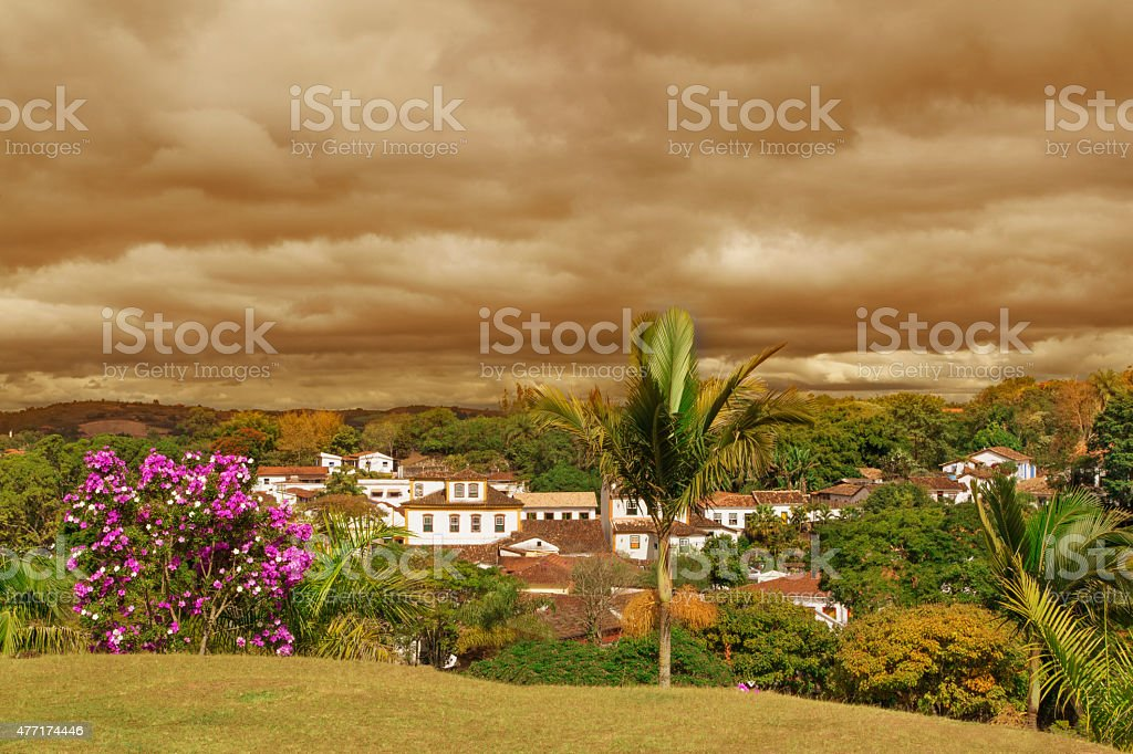 Minas Gerais State - typical buildings in a historical city stock photo