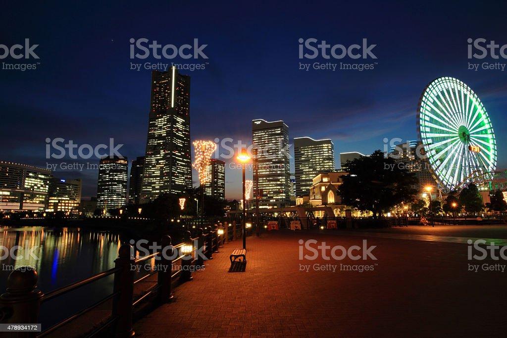 Minato Mirai district after sunset stock photo