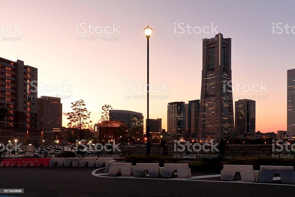 Minato Mirai evening landscape stock photo