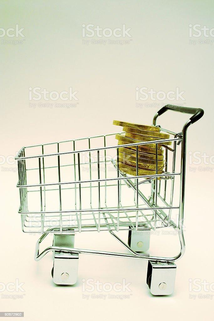 Minature shopping cart royalty-free stock photo