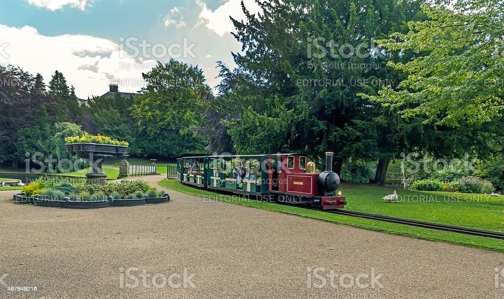 Minature Steam Train Pavilion Gardens Buxton stock photo