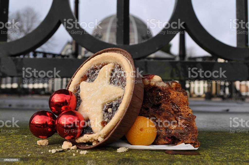 Mince pie and cake stock photo