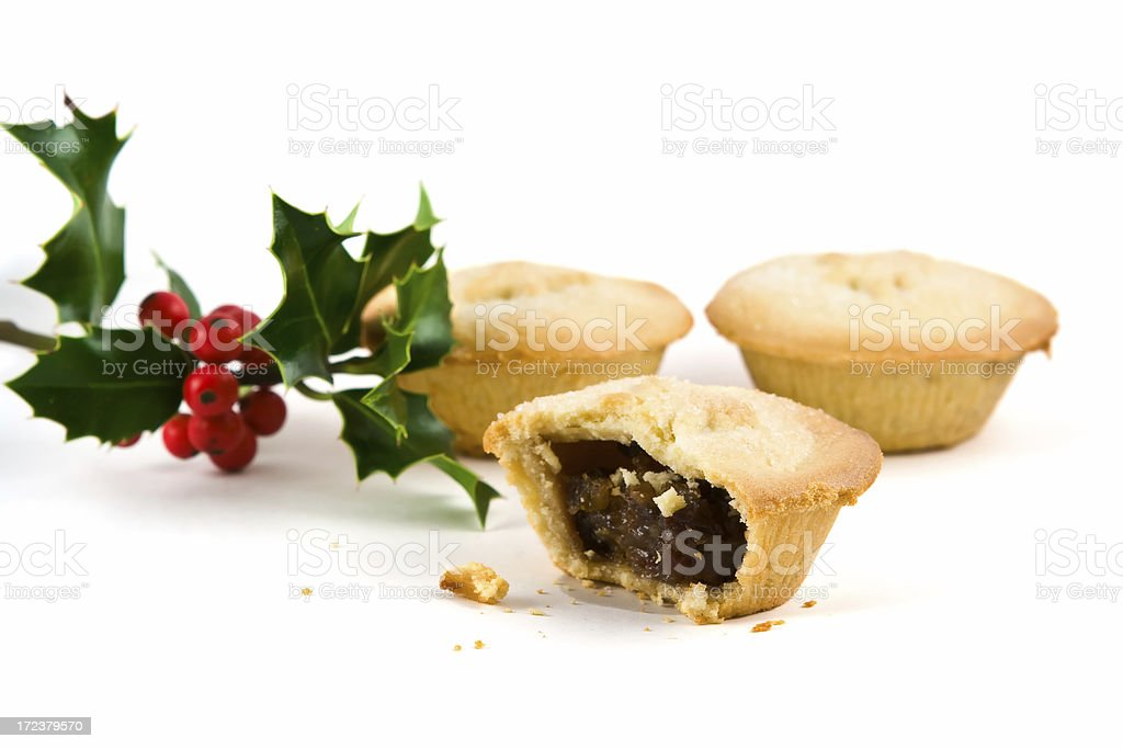 Mince pies and Holly royalty-free stock photo
