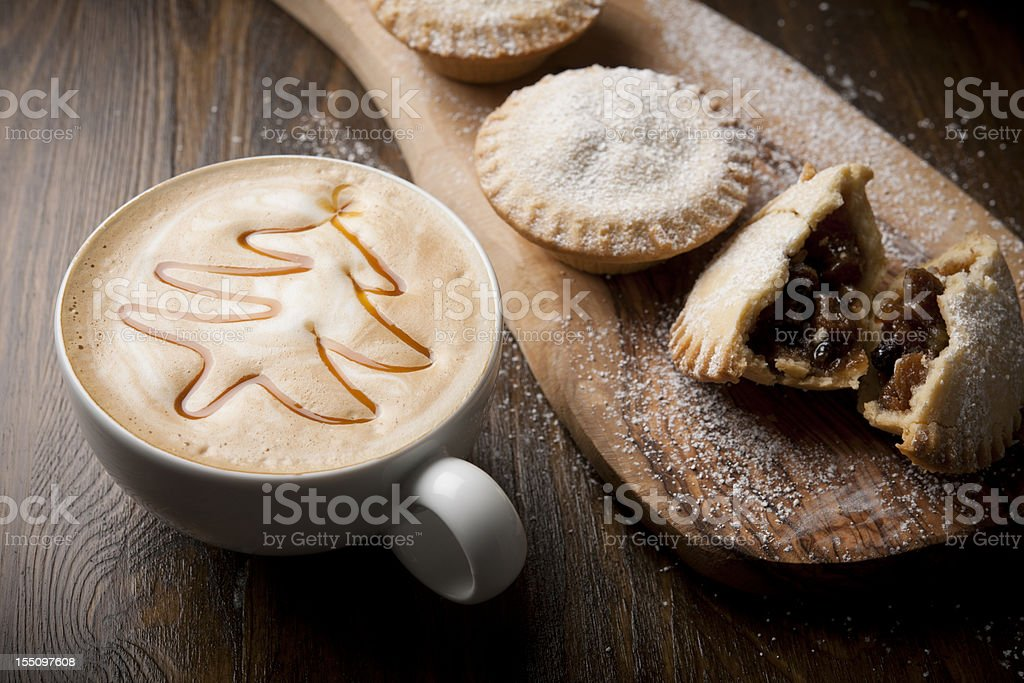 mince pies with festive coffee stock photo