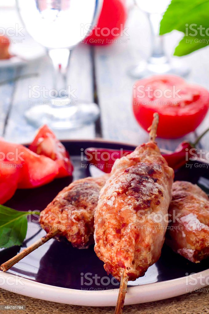 Minced lamb kebab stock photo