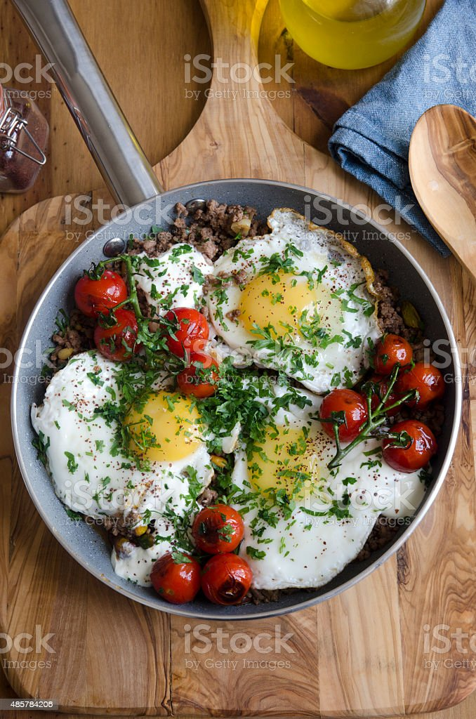 Minced lamb with eggs stock photo