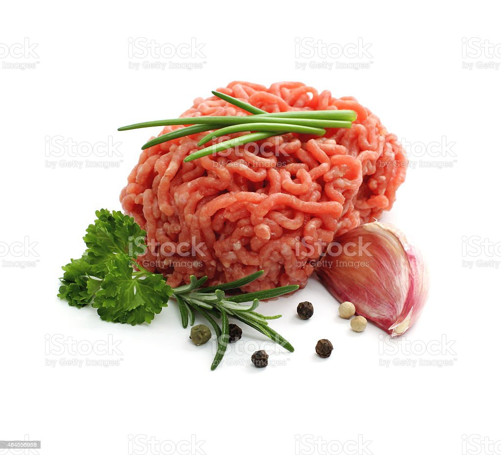Minced meat ball with herbs stock photo