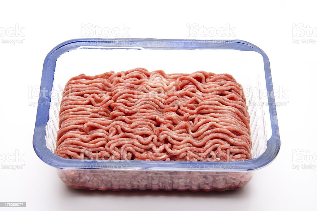 Minced meat in the packaging stock photo