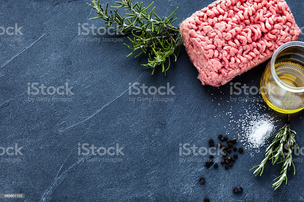 Minced meat on a slate stone stock photo