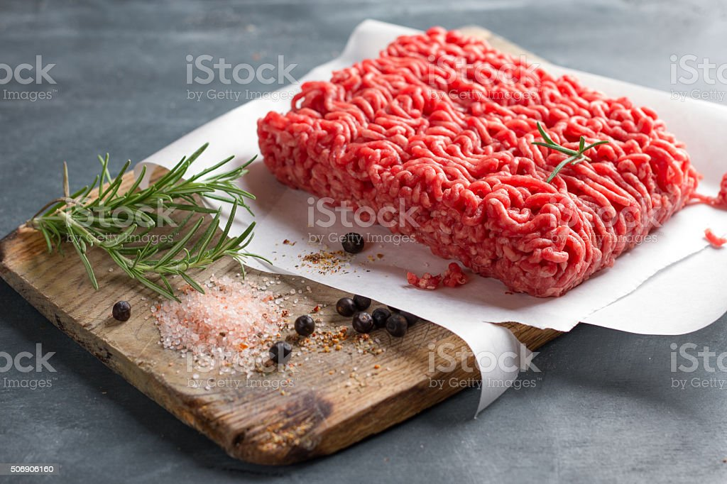 Minced meat on butcher pape stock photo
