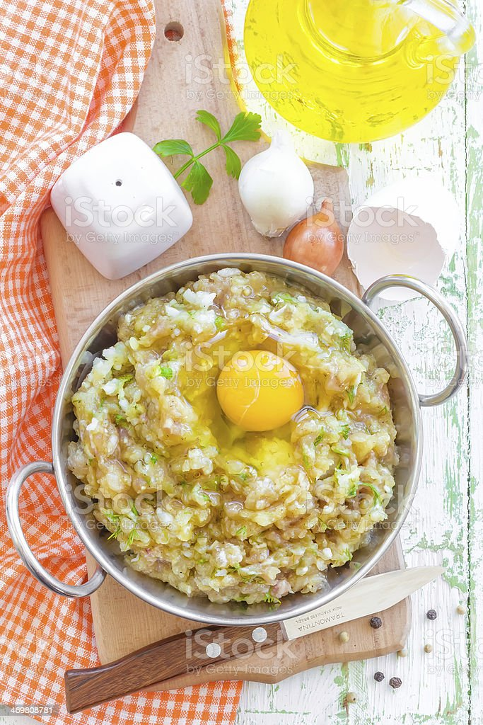 Minced meat with egg royalty-free stock photo