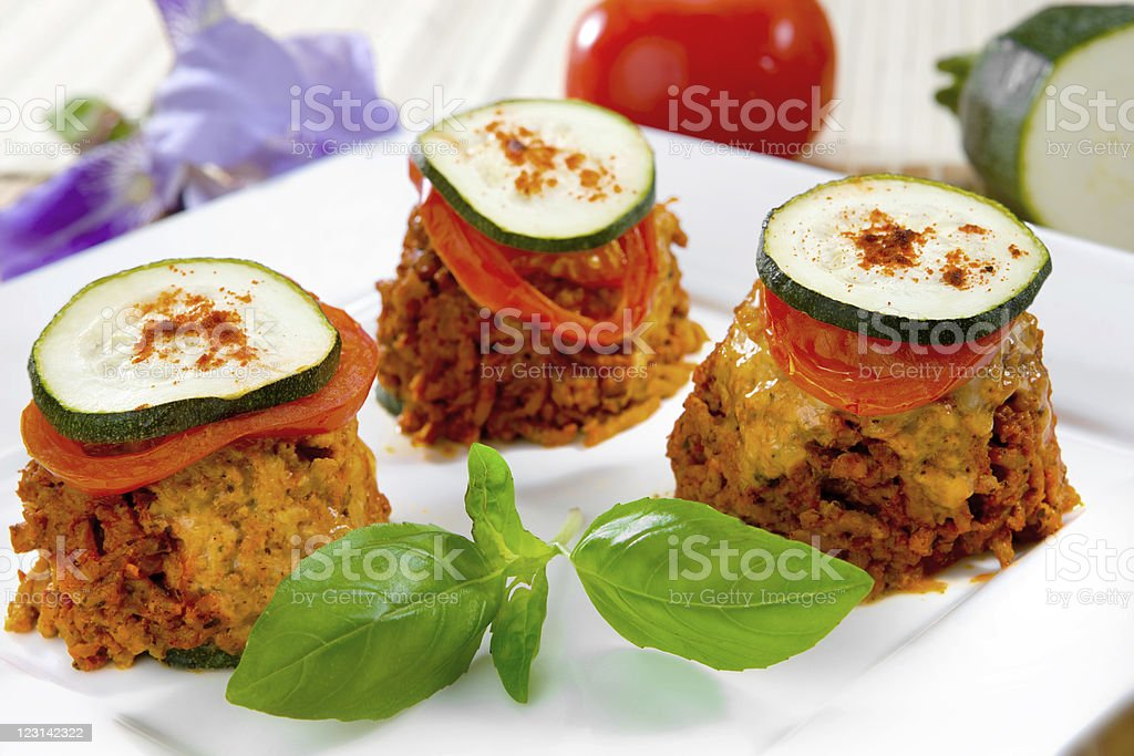 Minced meat with zucchini stock photo