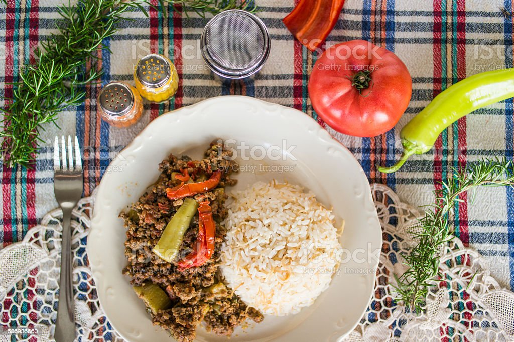 Minced meat zucchini with rice. stock photo