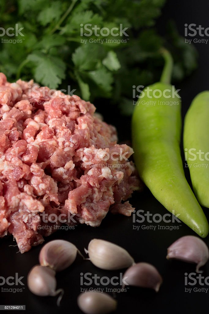 minced pork and vegetables stock photo