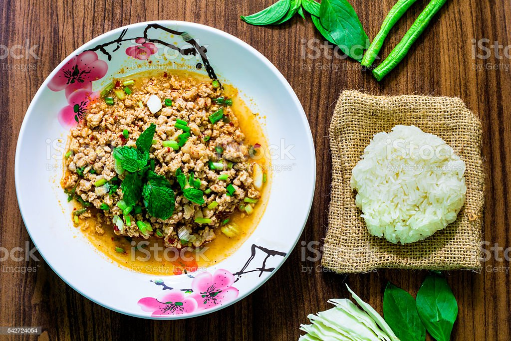 minced pork salad, minced pork mash with spicy, Thai food stock photo