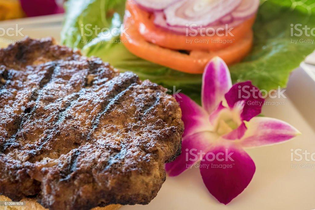 Minced steak burger stock photo
