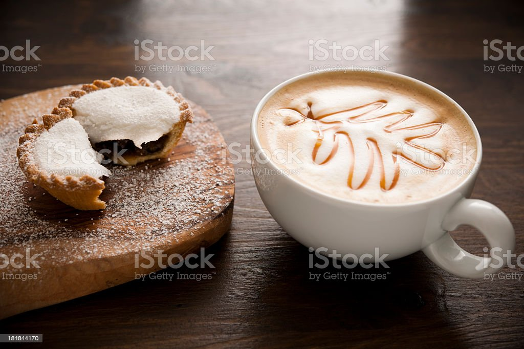mincepie with cofee and christmas tree shaped caramel stock photo