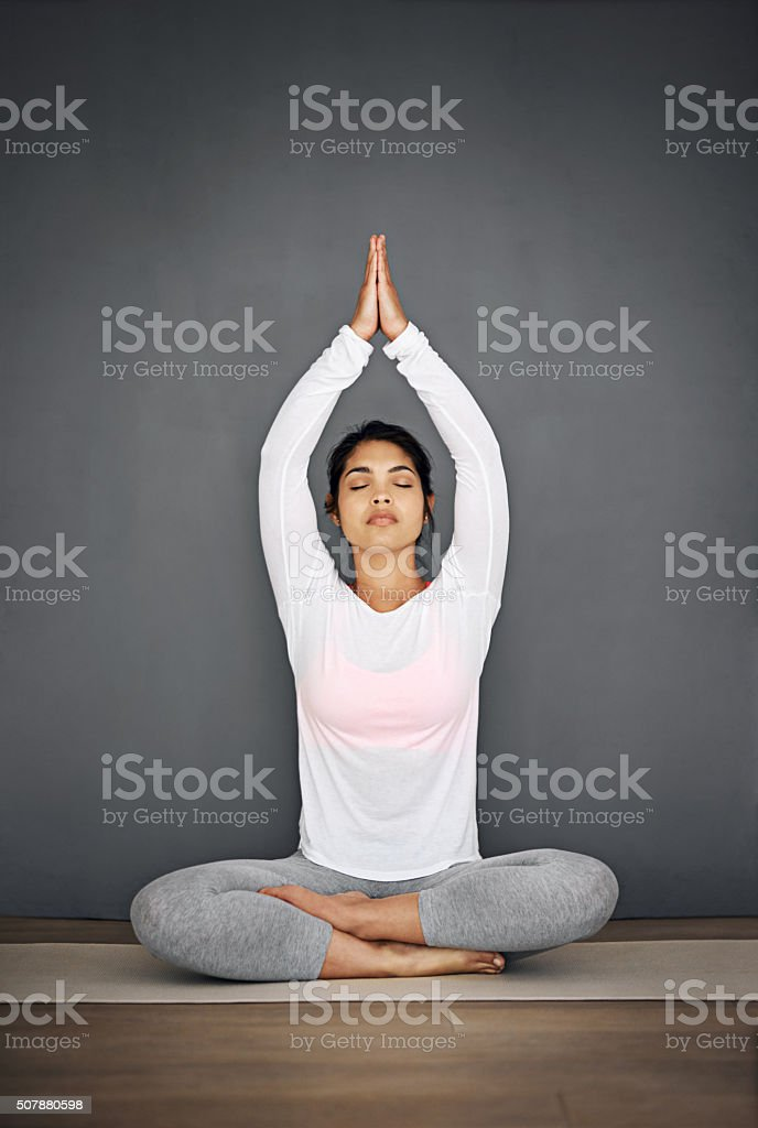 Mind, body and spirit aligned stock photo