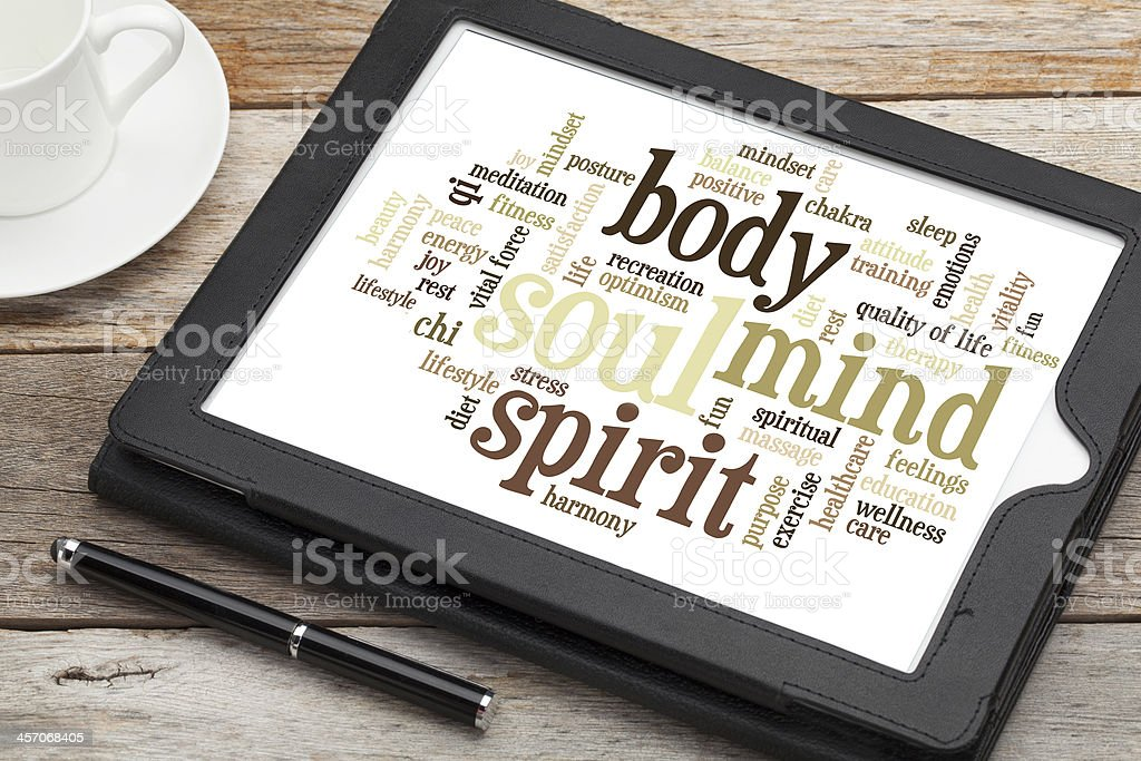 Mind, Body, Spirit text on tablet screen stock photo