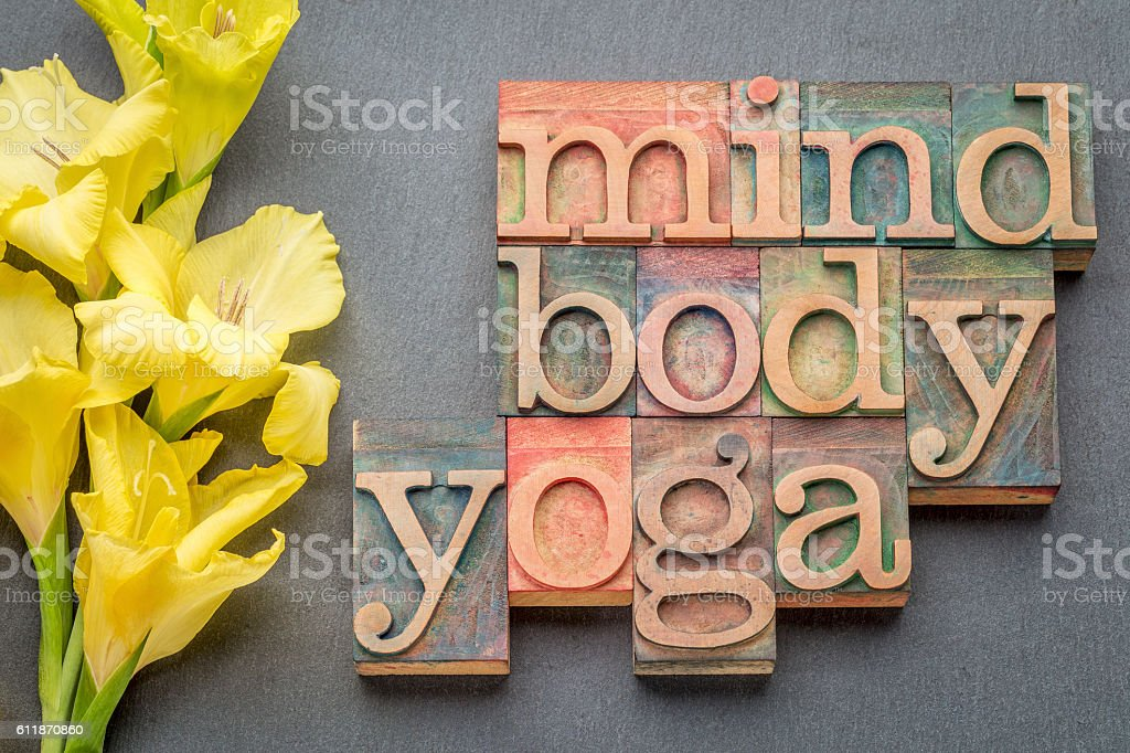 mind, body, yoga word abstract stock photo