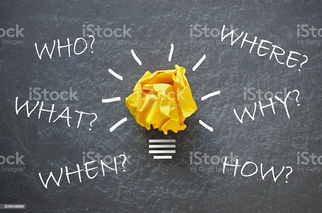 Mind map with questions and answers stock photo