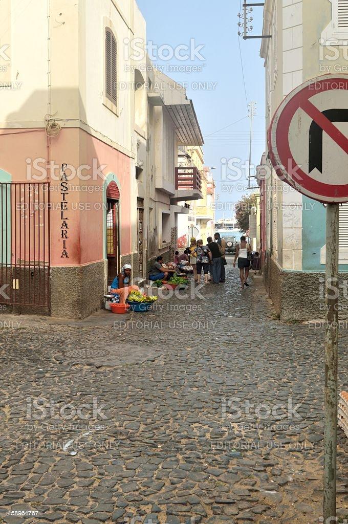 Mindelo Alley Farmers Market royalty-free stock photo
