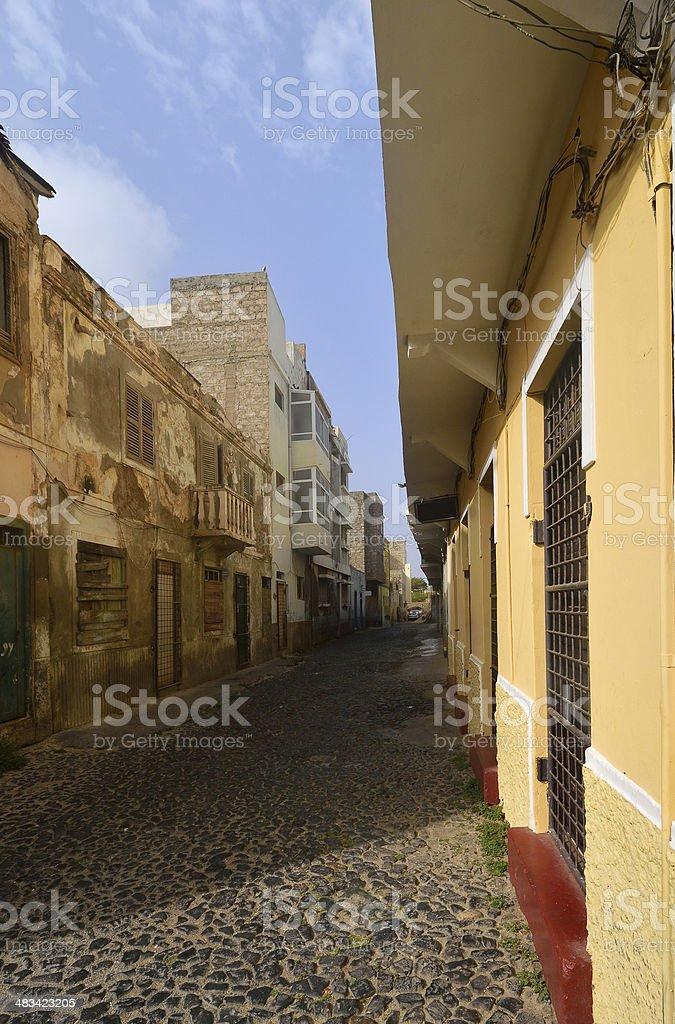 Mindelo Alleyway royalty-free stock photo