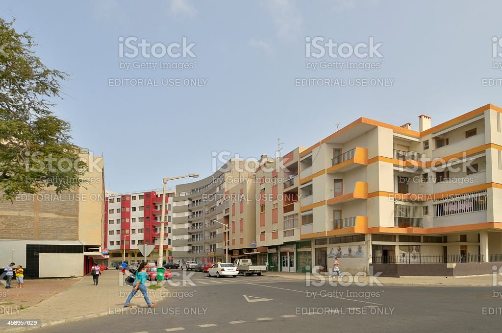 Mindelo Street Scene royalty-free stock photo