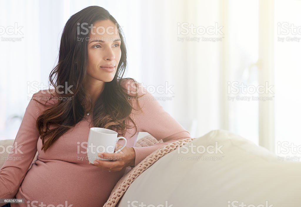 Mindful of impending motherhood stock photo