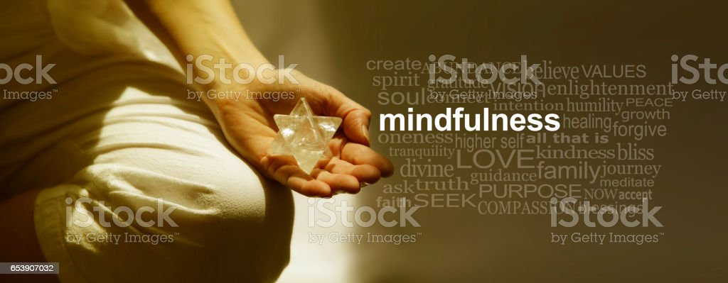Mindfulness Meditation Word Cloud Banner stock photo