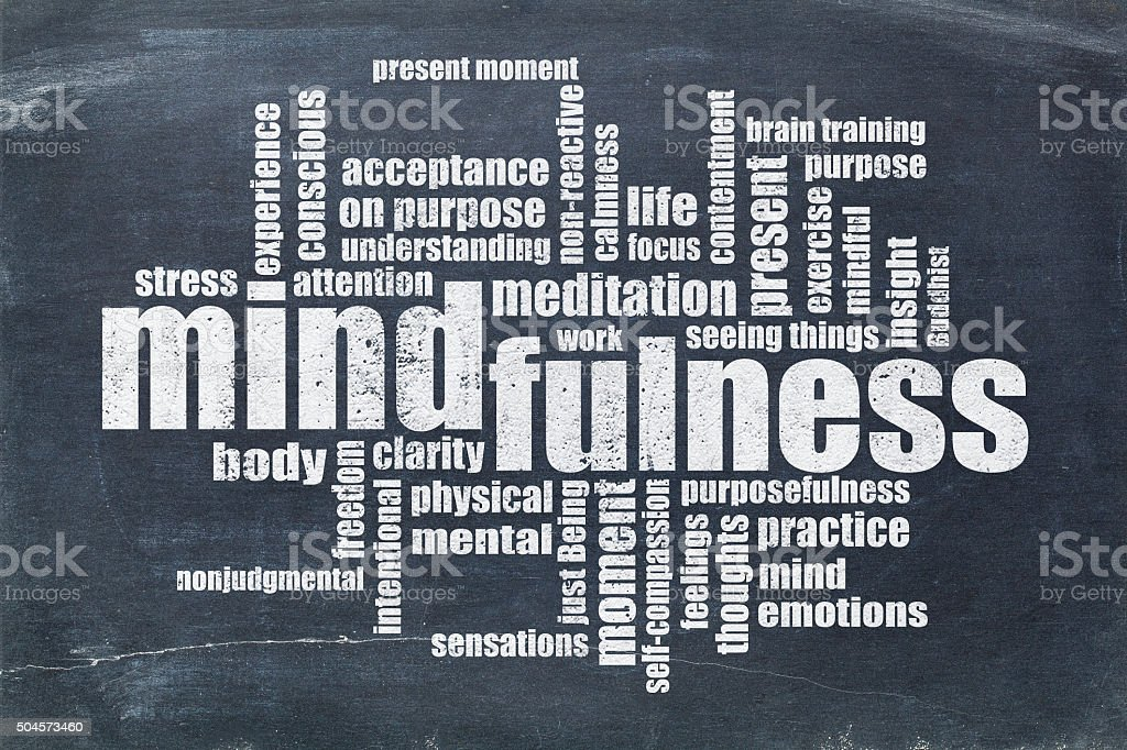 mindfulness word cloud on blackboard stock photo