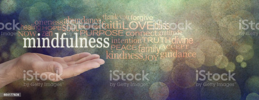 Mindfulness Word Cloud stock photo
