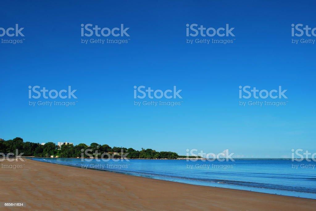 Mindil beach In Darwin, Northern Territory. Be aware of the crocodiles and jellyfish in the water. stock photo