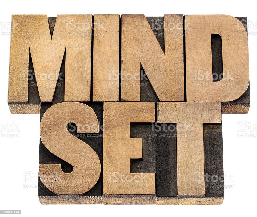 mindset in letterpress wood type royalty-free stock photo