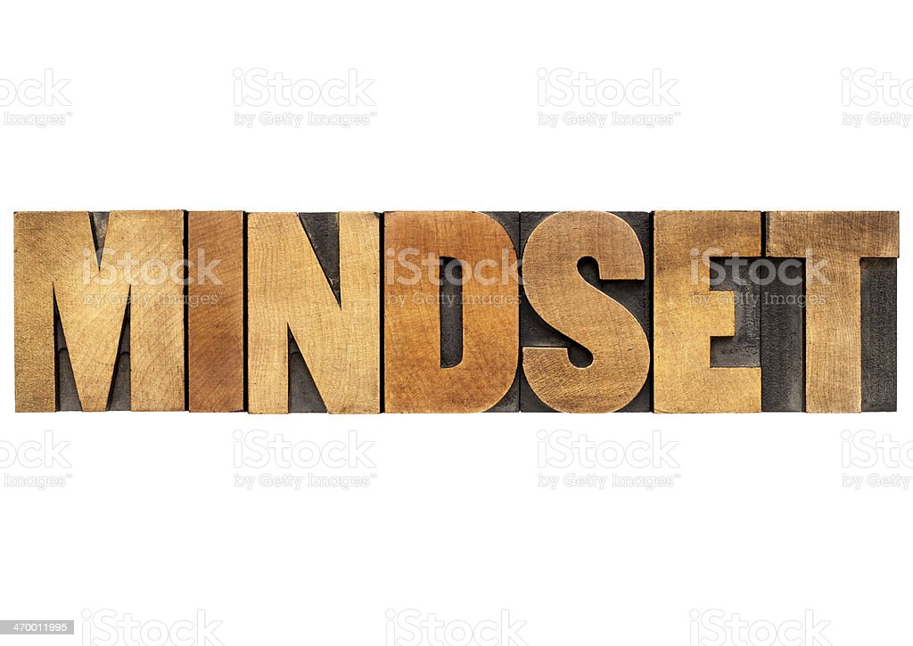 mindset word in wood type royalty-free stock photo