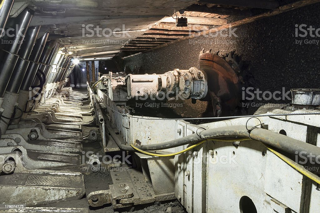 A mine excavator used for coal extraction stock photo