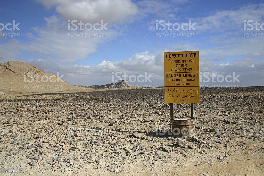 Mine field in the desert stock photo