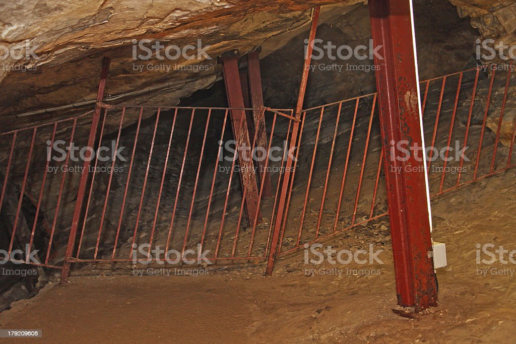 mine for extracting minerals with the ceiling supported by sturd royalty-free stock photo