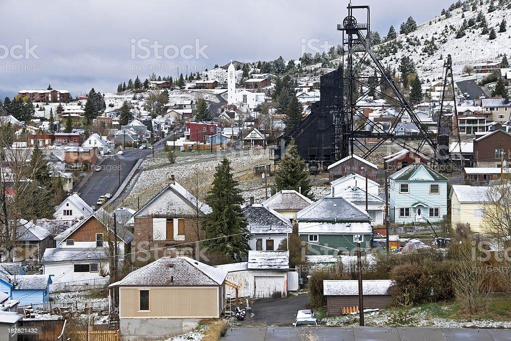 Mine headframe in copper mining town stock photo