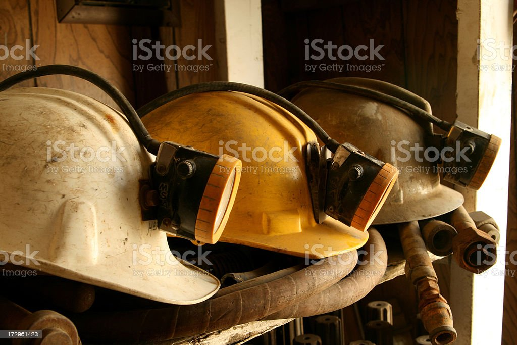 Mine Helmets stock photo