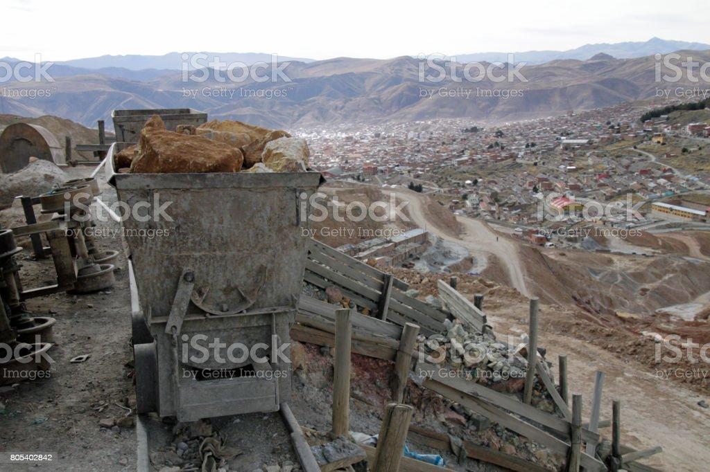 Mine in Potosi, Bolivia stock photo