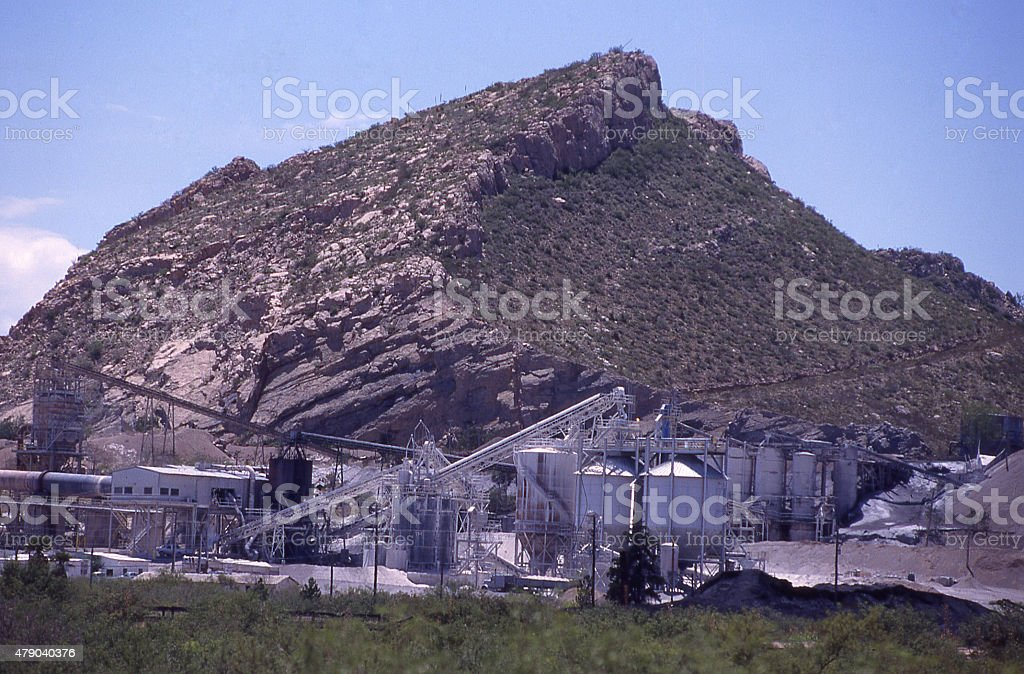 Mine Processing Rock Ore Southeast Arizona between Douglas and Apache stock photo