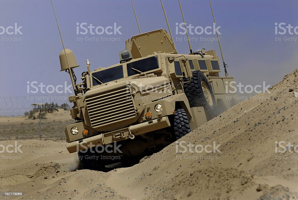 Mine Resistant Vehicle In Middle East stock photo