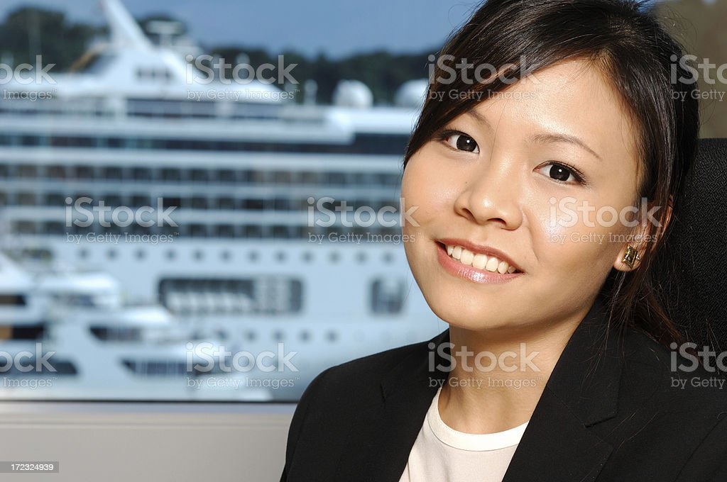Mine - rich Asian girl in front of cruise ship royalty-free stock photo