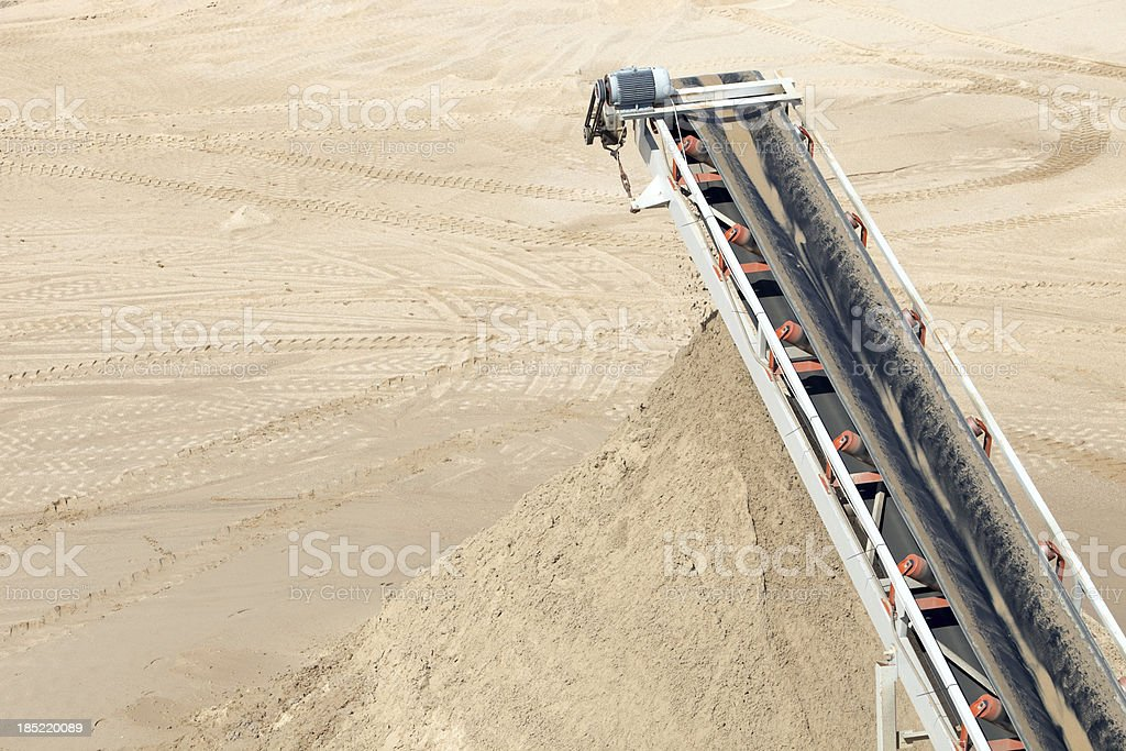 Mine Screening Conveyor Depositing Sorted Sand stock photo
