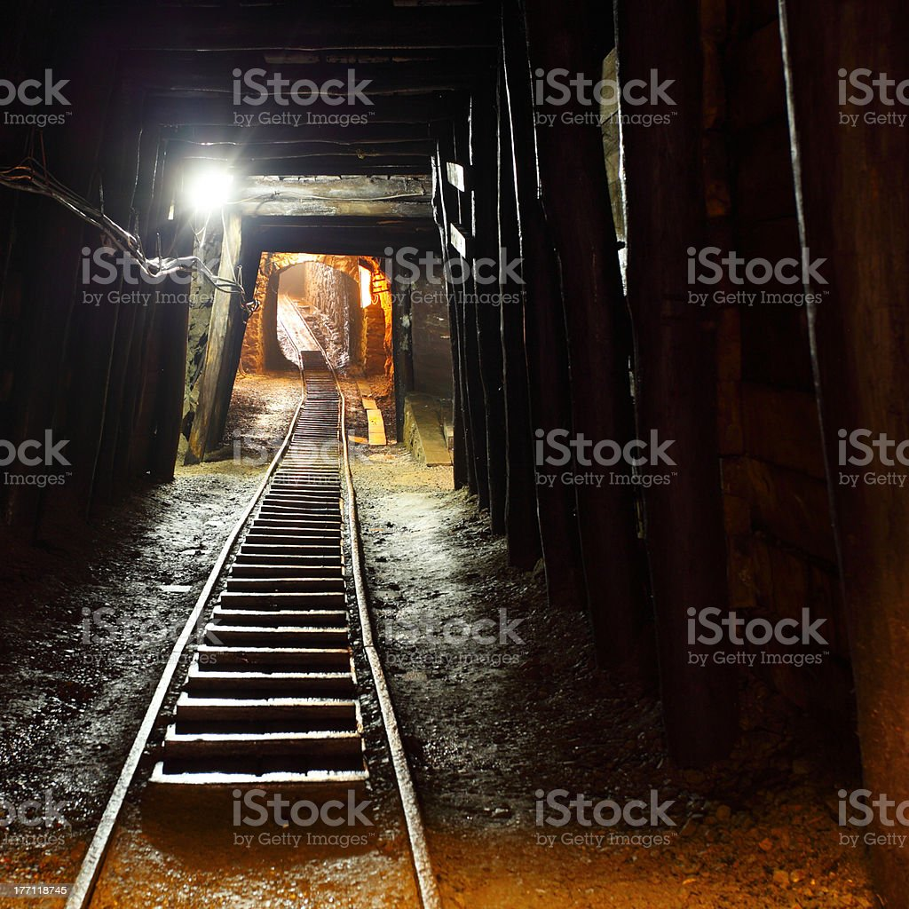 Mine Shaft with railway stock photo