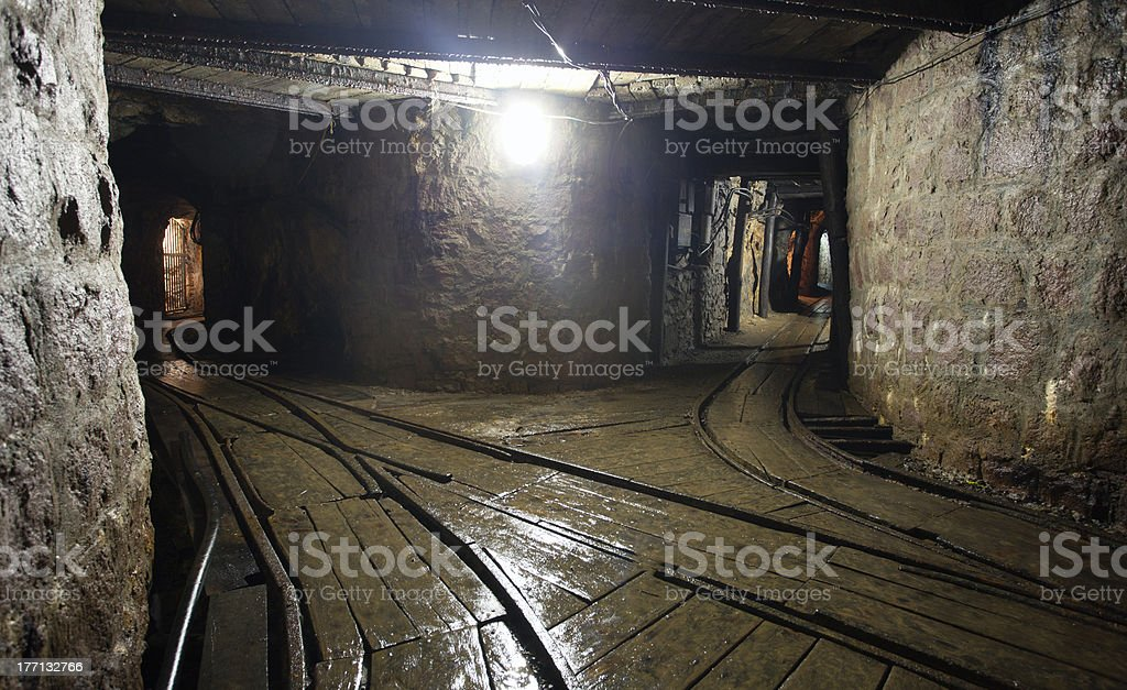Mine Shaft with railway royalty-free stock photo